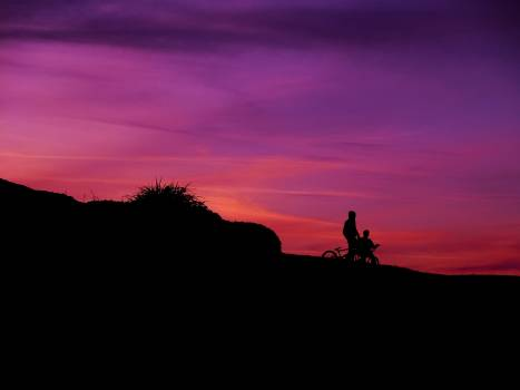 Bikers on Slope Silhouette during Sunset #46232