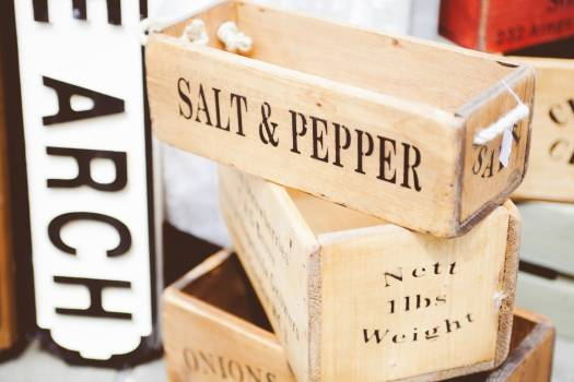 Beige Wooden Salt & Pepper Container #46604