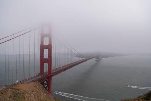 Architecture boats bridge foggy #47095