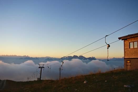 Mountain fog ski lift ski resort #47860
