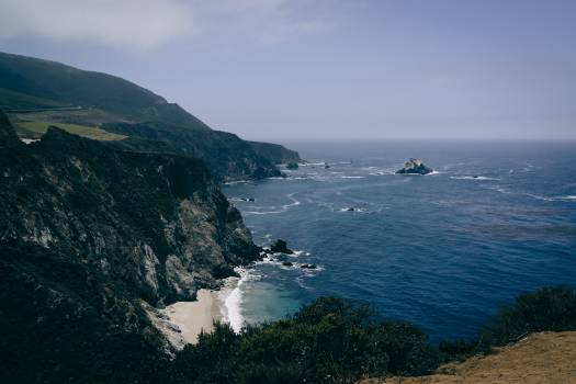 View of Ocean Water from Mountain Cliff during Daytime #49028