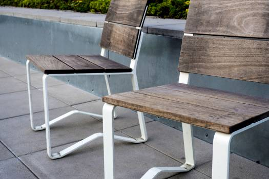 2 Wooden Chair on Top Tile Outdoor #49928