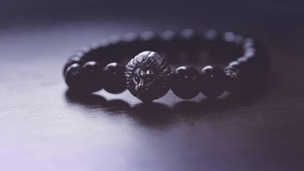 Black Beaded Lion Pendant Bracelet #52447
