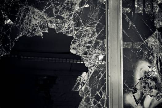 Black and white broken dark glass #53070