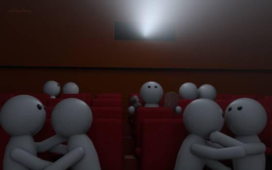 Cinema loneliness love popcorn Free Photo