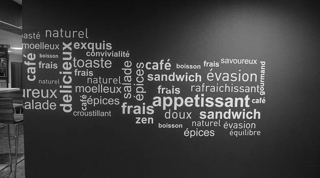 Black and white design text wall #56859