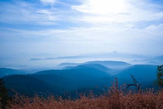 Blue mountains blue skies fog foggy morning Free Photo