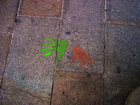 Hands pavement prints stone pavement #59067