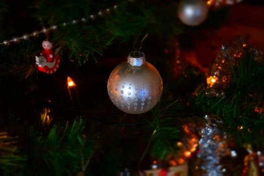 Close-up of Illuminated Christmas Tree at Night Free Photo