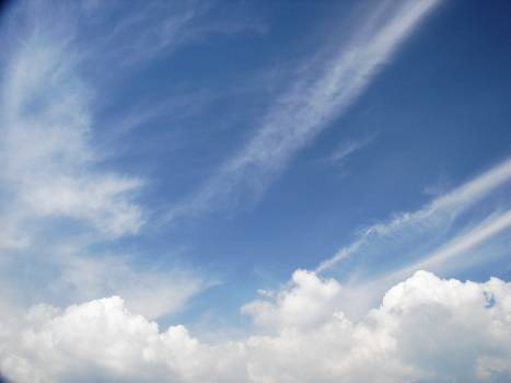 Low angle view of vapor trail in sky Free Photo