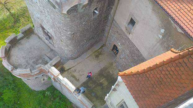 High Angle View of People on Cobblestone Free Photo