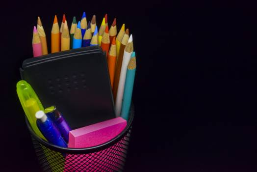 Multi Colored Pencils Against Black Background #64928