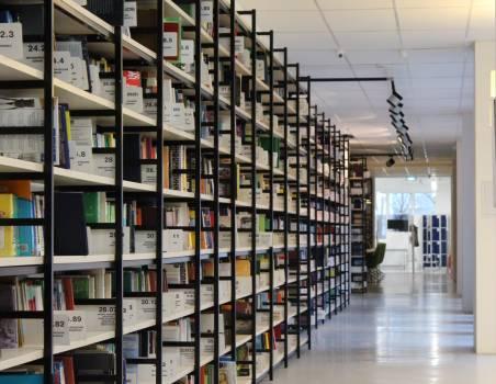 Stack of Books in Shelf Free Photo