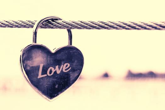 Close-up of Padlocks Hanging on Heart Shape Free Photo