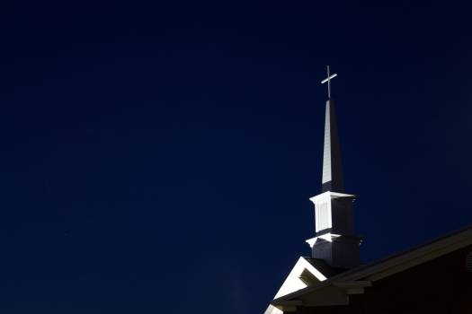 Low Angle View of Cross Against Sky at Night Free Photo
