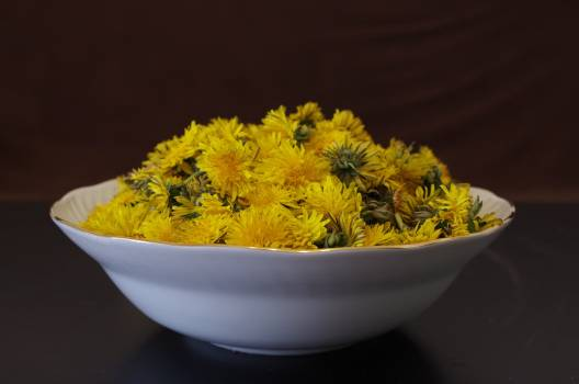 Close-up of Yellow Flowers in Bowl Free Photo