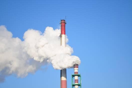 Smoke Stacks Against Blue Sky #66098
