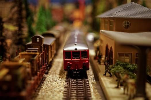 Tilt-shift Image of Illuminated Train #66842
