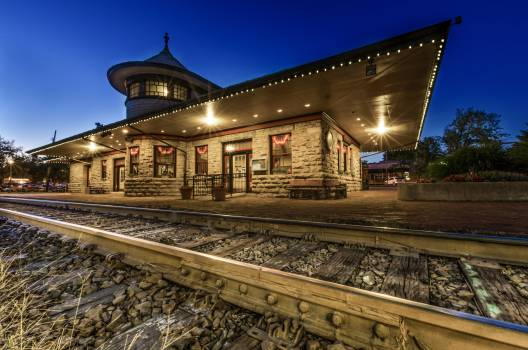 View of Railroad Station at Night #66878