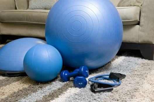 Blue fitness equipment equipment exercise fitness Free Photo