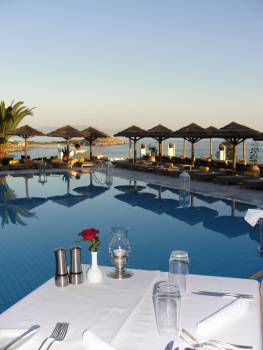 Dining table holiday hotel pool Free Photo