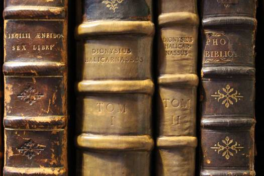 Antique books collection library Free Photo