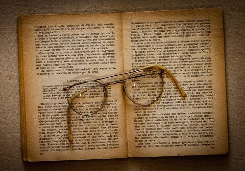 Ancient book glasses literature Free Photo