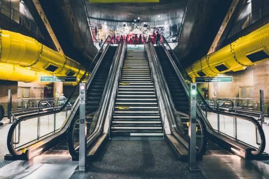 Building escalators indoors industry Free Photo