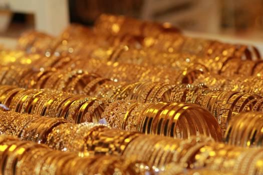Bracelets gold jewelry market Free Photo
