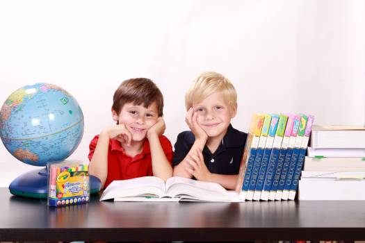 Adorable books boys bright Free Photo