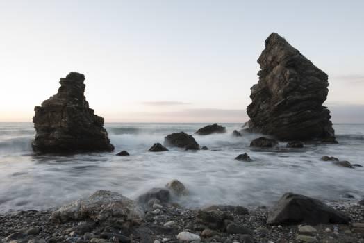 Beach black and white cliff dawn #76274