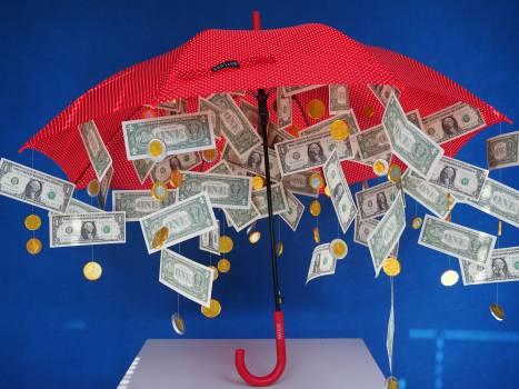 Bills coins currency dollar rain Free Photo