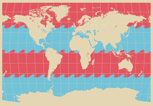 Blue red wave world map Free Photo