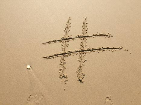 Beach footprint hashtag island Free Photo