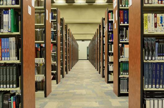 Bookcase books bookshelves hallway Free Photo