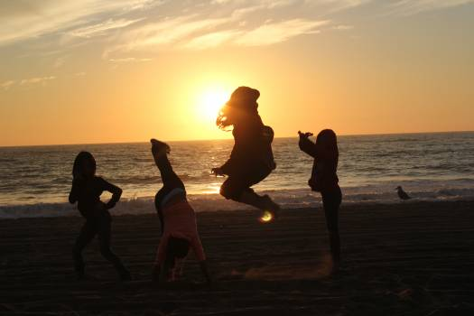 Posing at sunset silhouette sunset #79156