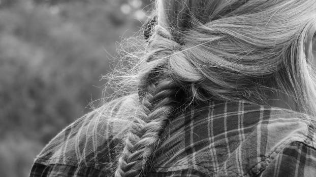 Blonde fish tail hair hairstyle Free Photo