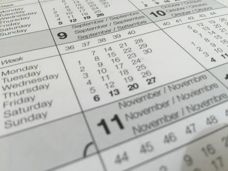 Calendar dates paper schedule Free Photo