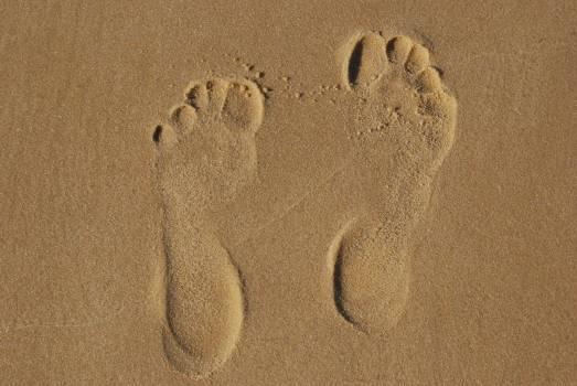 Barefoot beach brown sand footprint #81359