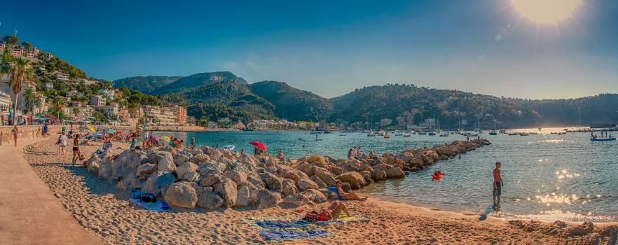Bathing beach beach panorama city #81437