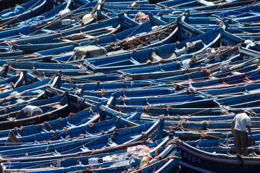 Blue boats boats boats in the harbor essaouira Free Photo