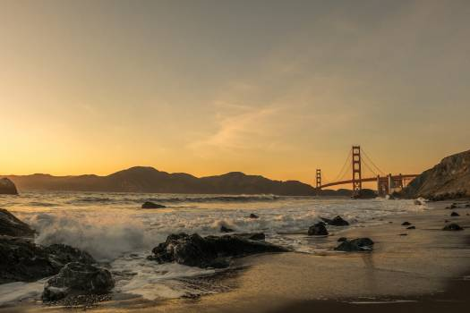 Beach bridge golden gate bridge last light #83010