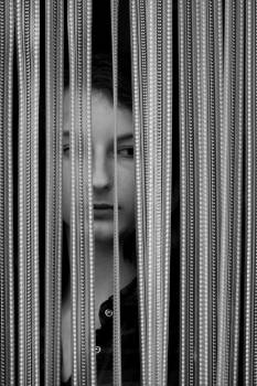 Black white curtain girl model #84705