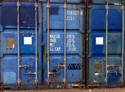 Blue container container door metal Free Photo