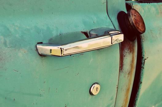 Antique door gas green Free Photo