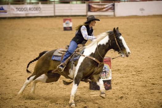 Action arena barrel racing competition Free Photo