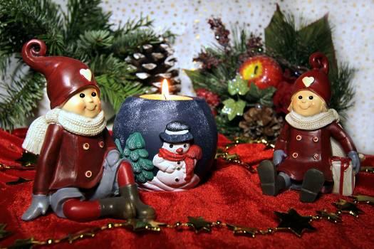 Christmas candle dwarfs sitting still life #85489