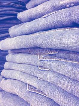 Blue canvas garment jean stack jeans Free Photo