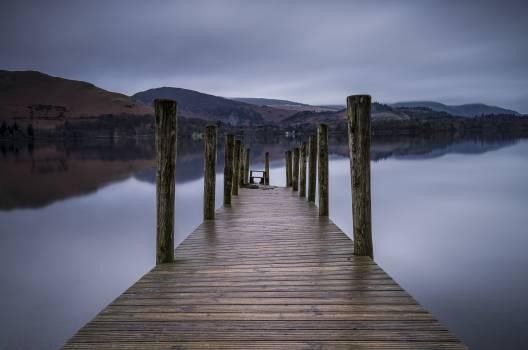 Dock jetty lake mountains #87901