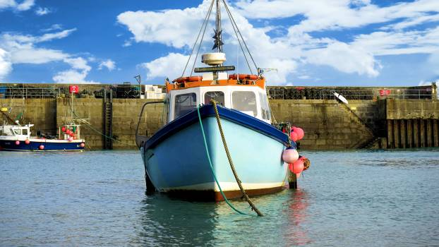 Blue boat fishing boat marine Free Photo